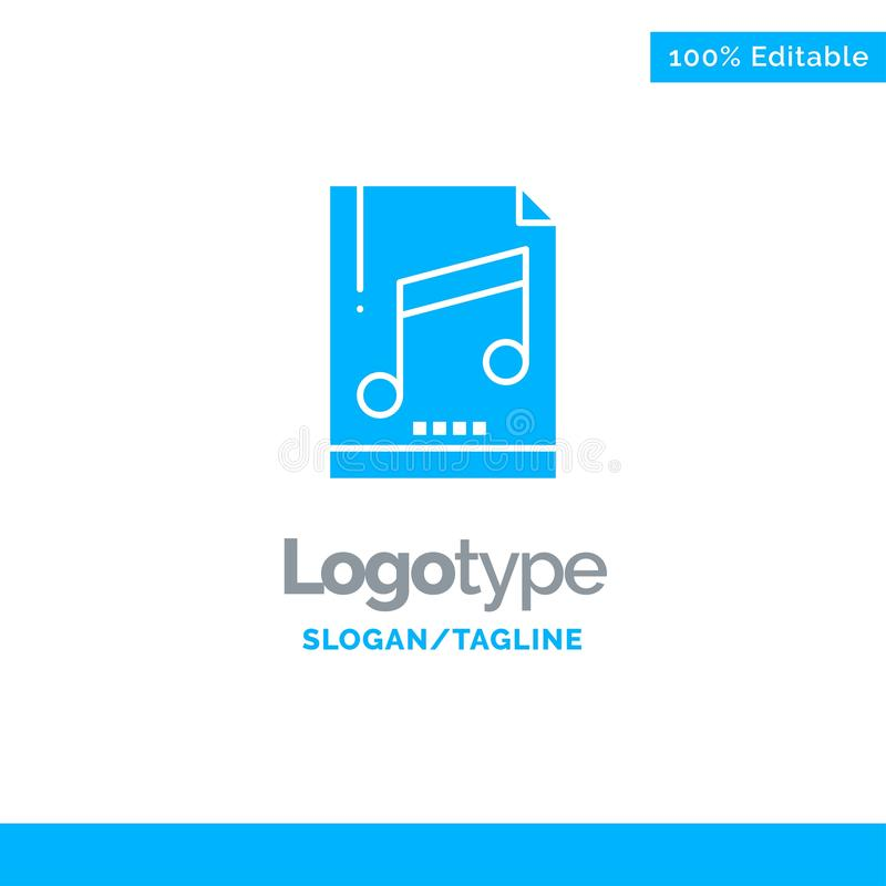 Audio, Computer, File, Mp3, Sample Blue Solid Logo Template. Place for Tagline vector illustration