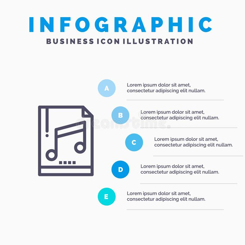 Audio, Computer, File, Mp3, Sample Line icon with 5 steps presentation infographics Background vector illustration