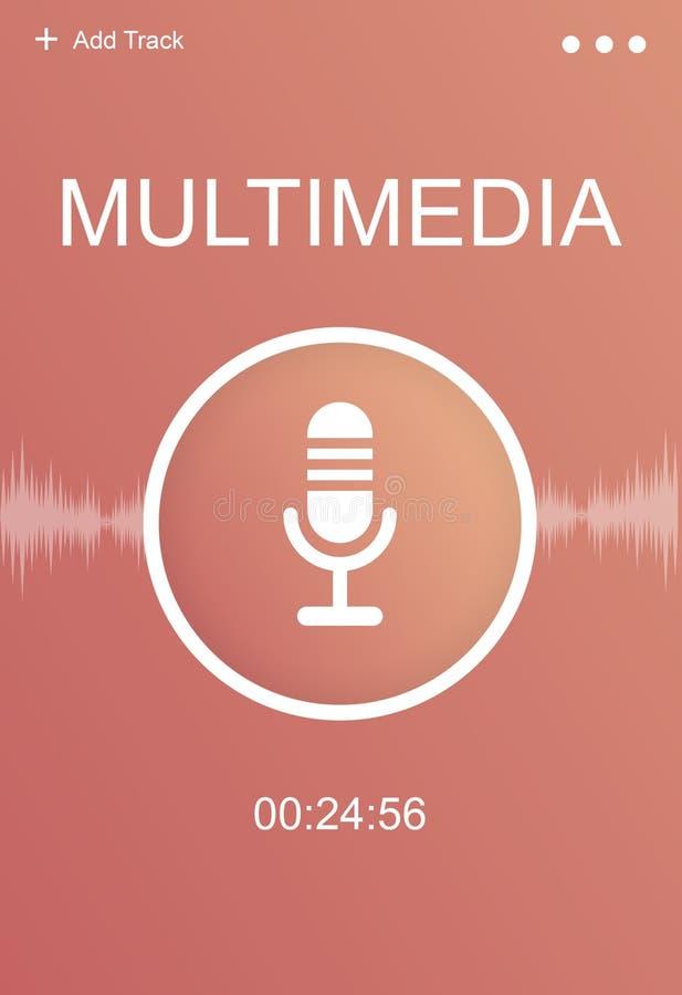 Audio concetto del grafico di mezzo di comunicazione di podcast del microfono illustrazione vettoriale