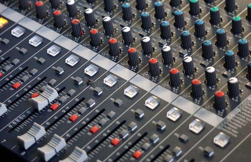 Audio console effect controls stock images