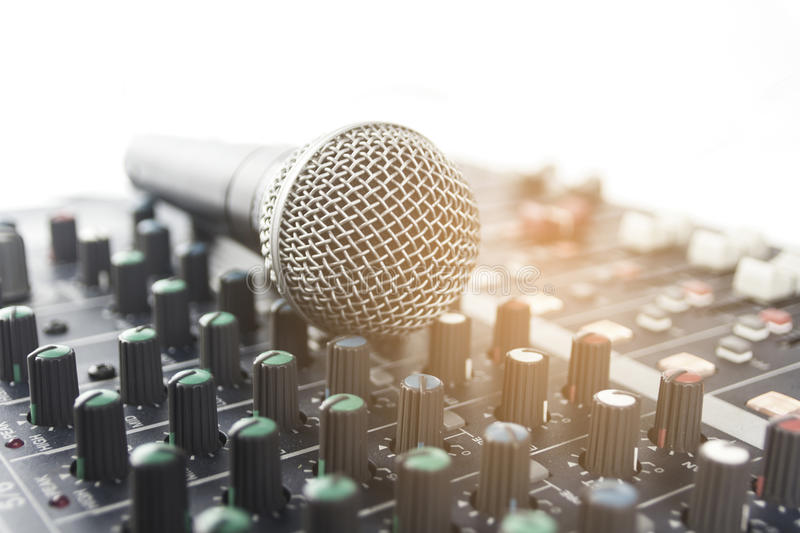 Microphone with audio mixer. royalty free stock photography