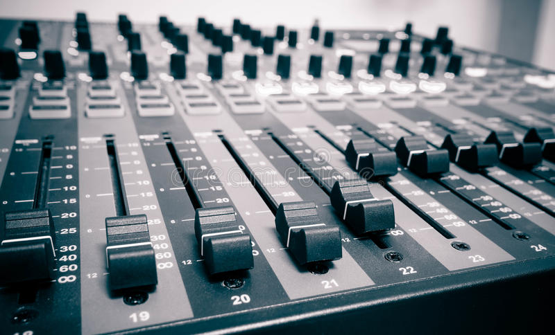 Audio controller. Pannel / sound mixer stock photography