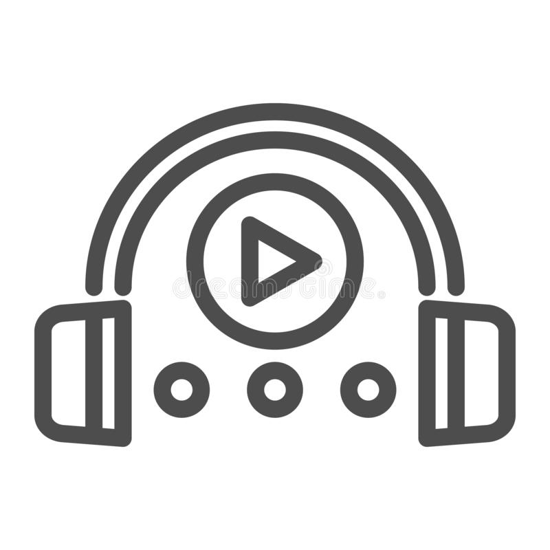 Audio course line icon. Headphones and play sign vector illustration isolated on white. Music outline style design stock illustration