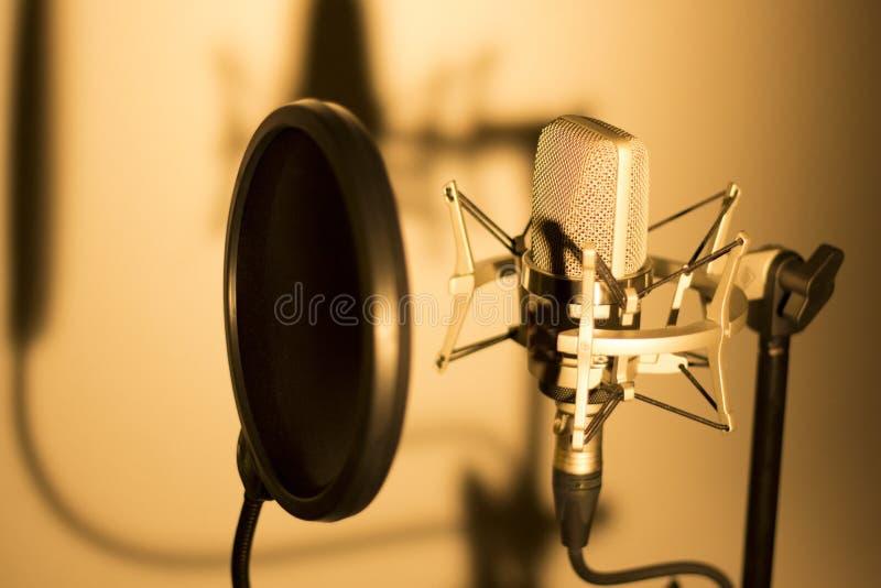 Audio de stemmicrofoon van de opname vocale studio stock foto