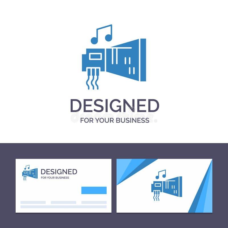Audio de visita de la plantilla creativa de la tarjeta y del logotipo, arenador, dispositivo, hardware, ejemplo del vector de la  ilustración del vector