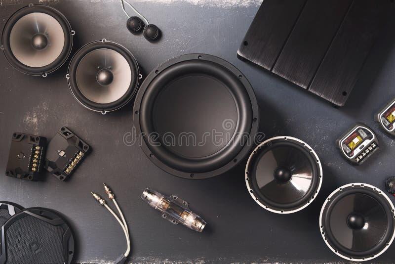 Audio de voiture, haut-parleurs de voiture, subwoofer et accessoires pour l'accord images stock