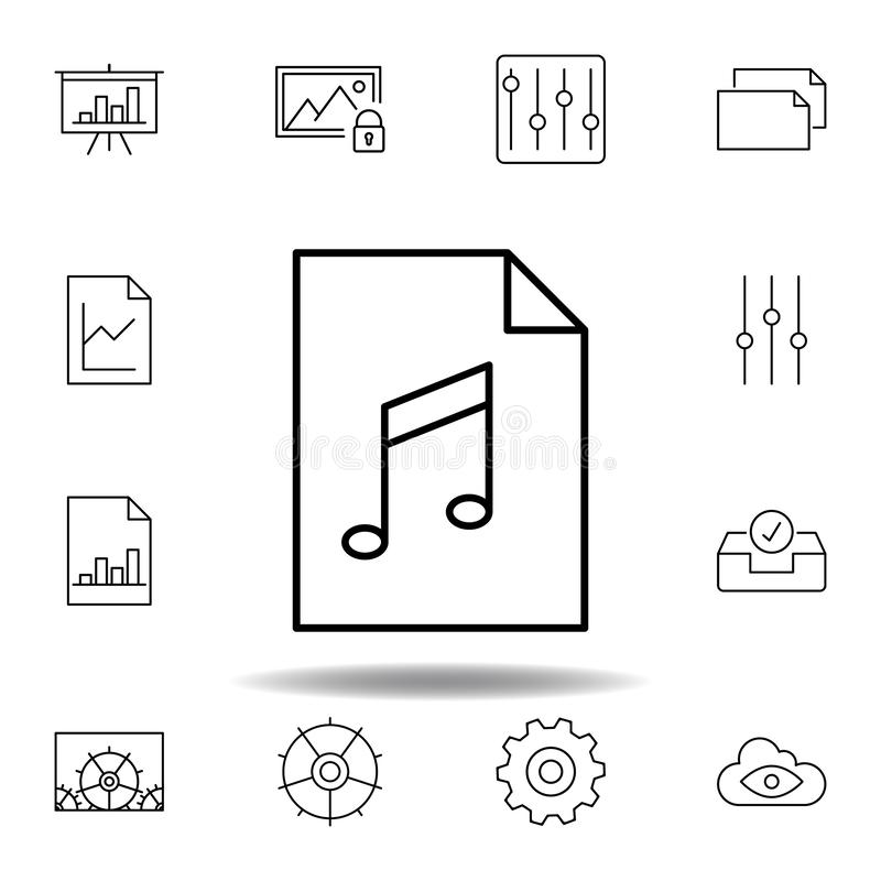 audio document file paper outline icon. Detailed set of unigrid multimedia illustrations icons. Can be used for web, logo, mobile vector illustration