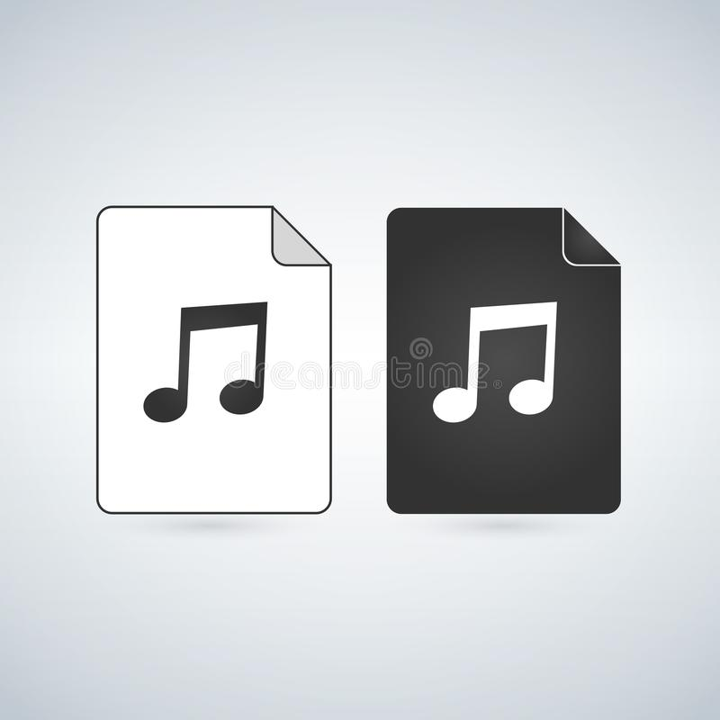 Audio dokumentu wektorowa ikona z muzyki notatką Mieszkanie znak dla mobilnego pojęcia i sieć projekta Papierowa doc prosta stała royalty ilustracja