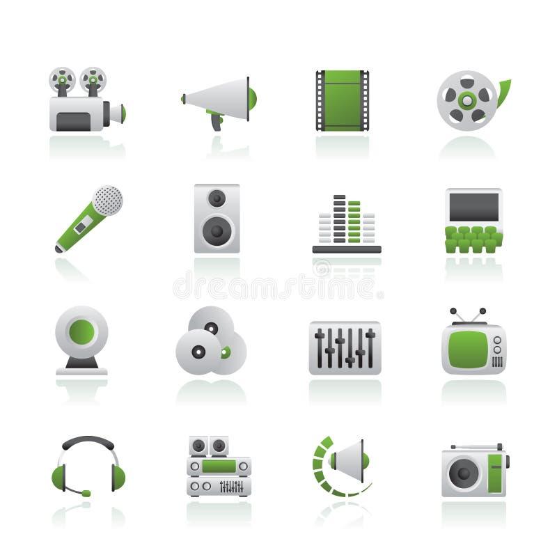 Audio e video icone illustrazione vettoriale