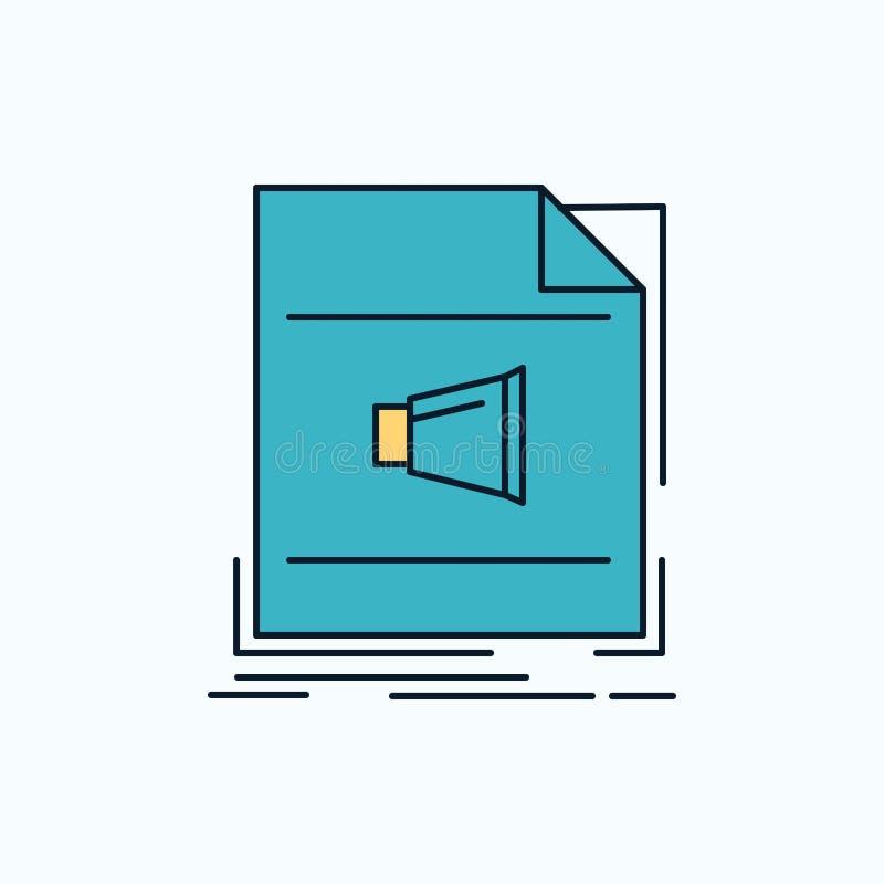 Audio, fichero, formato, música, icono plano sano muestra y s?mbolos verdes y amarillos para la p?gina web y el appliation m?vil  libre illustration