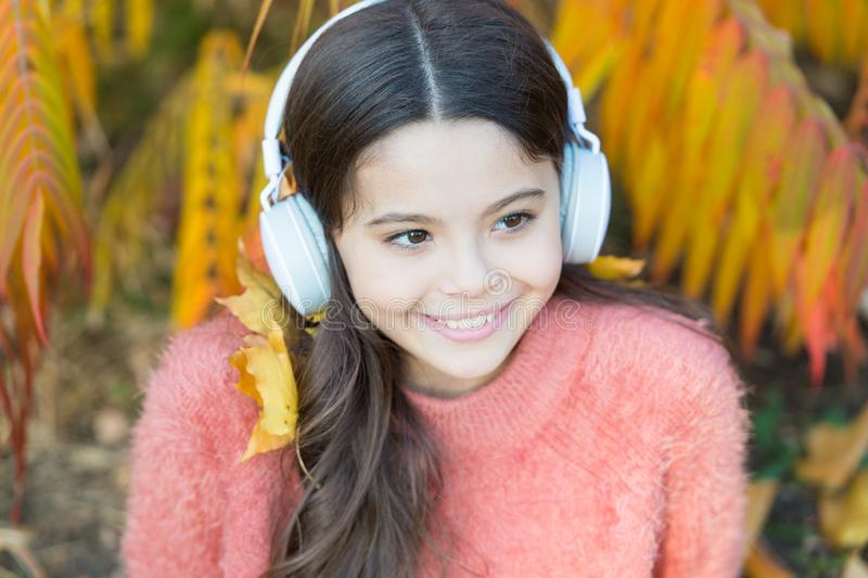 Audio file. Educational podcast. Feel joy. Kid girl relaxing near autumn tree with headphones. Music for autumn cozy. Mood. Listening song. Autumn playlist royalty free stock image