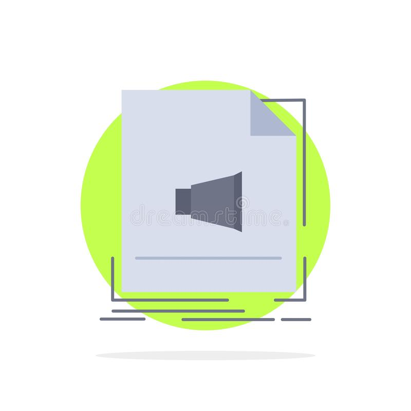 Audio, file, format, music, sound Flat Color Icon Vector vector illustration