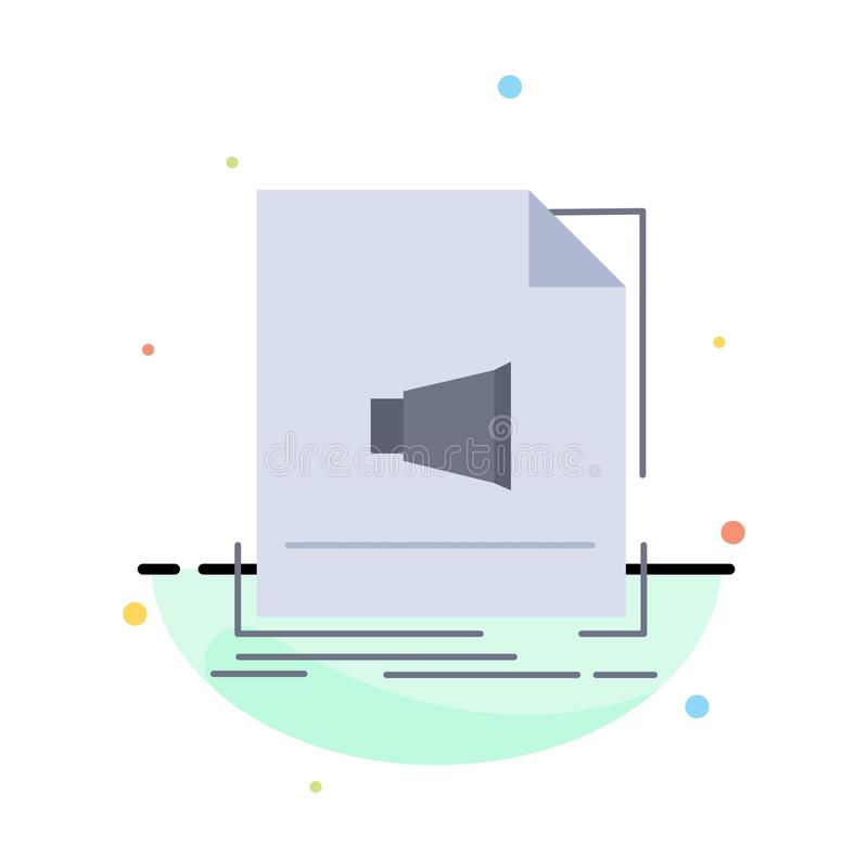 Audio, file, format, music, sound Flat Color Icon Vector stock illustration