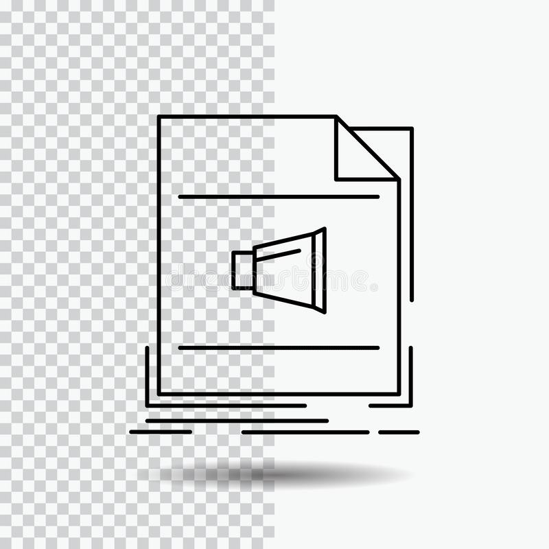 Audio, file, format, music, sound Line Icon on Transparent Background. Black Icon Vector Illustration. Vector EPS10 Abstract Template background royalty free illustration