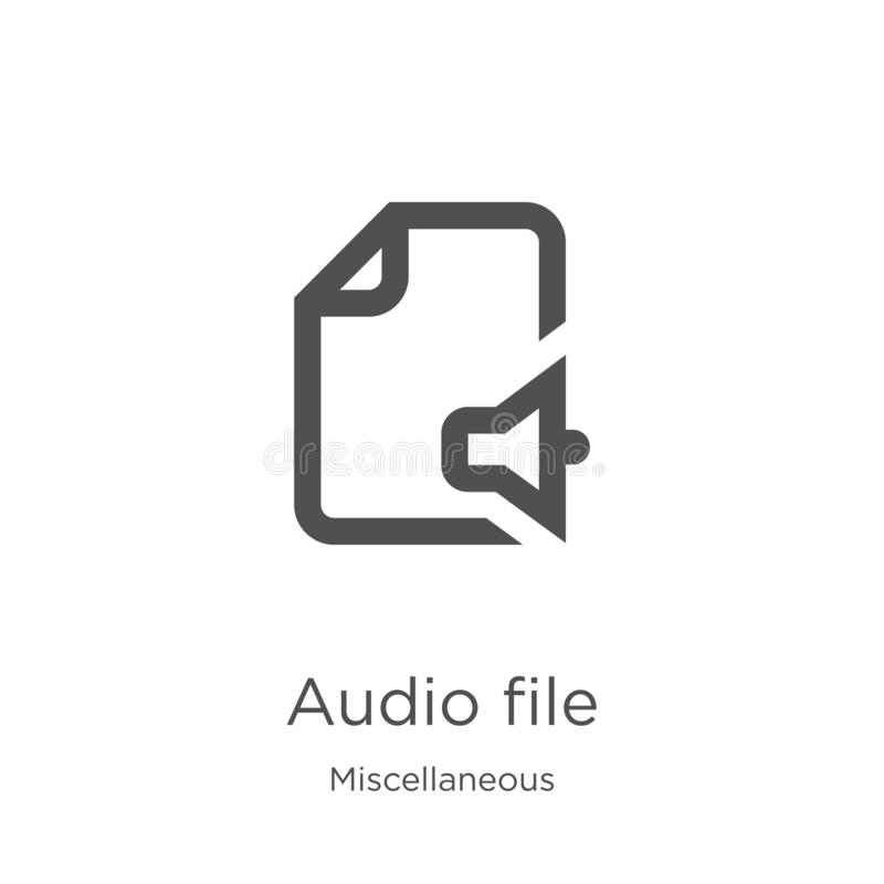 audio file icon vector from miscellaneous collection. Thin line audio file outline icon vector illustration. Outline, thin line stock illustration