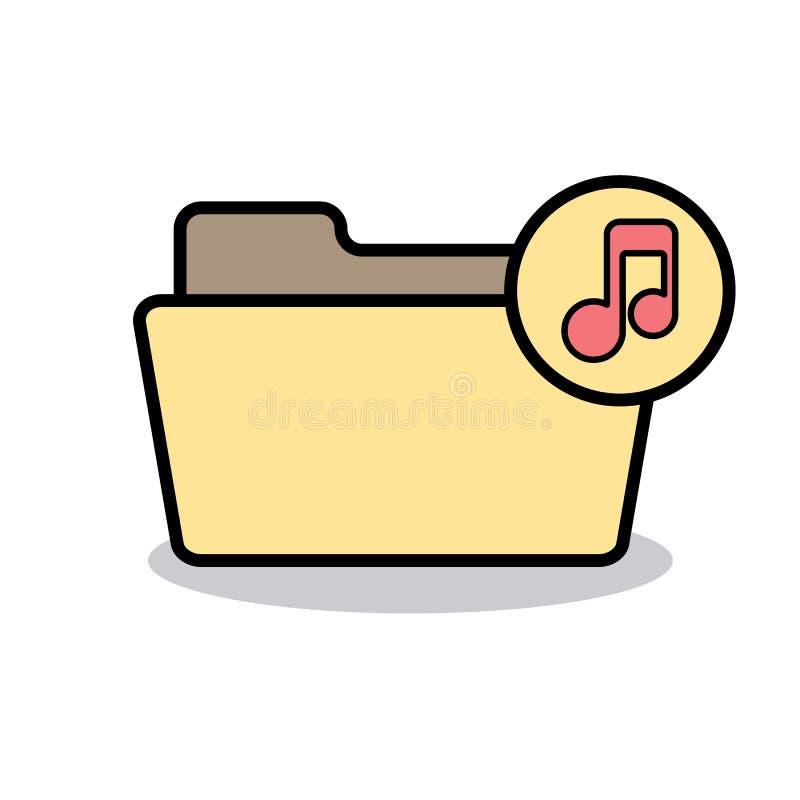 Audio Folder Media Music Note Player Sound Icon Stock Vector