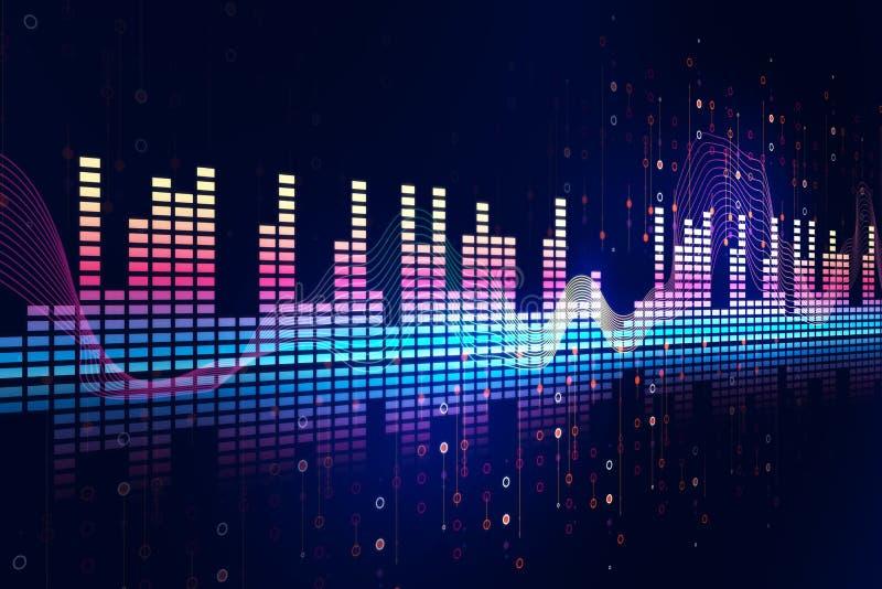 Audio fondo di tecnologia dell'estratto di forma d'onda illustrazione di stock