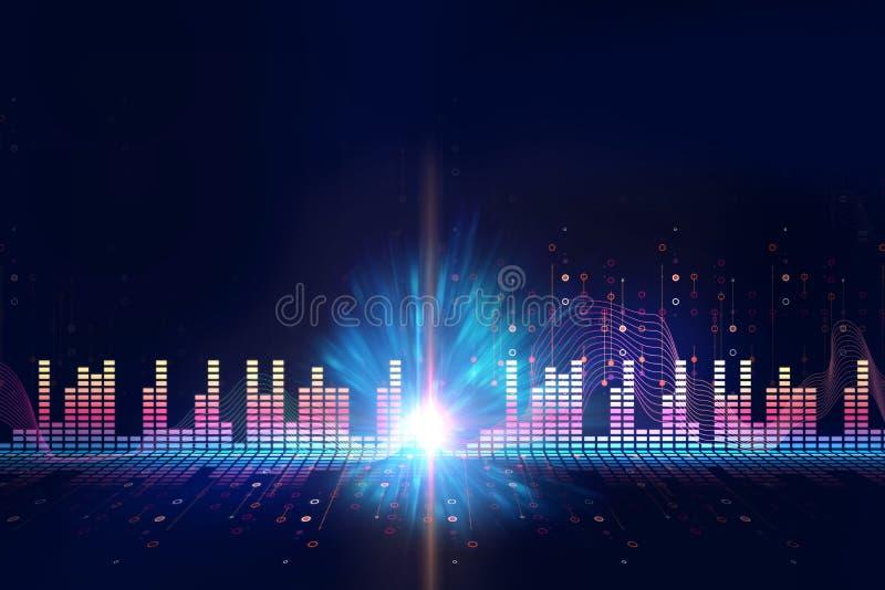 Audio fondo di tecnologia dell'estratto di forma d'onda illustrazione vettoriale