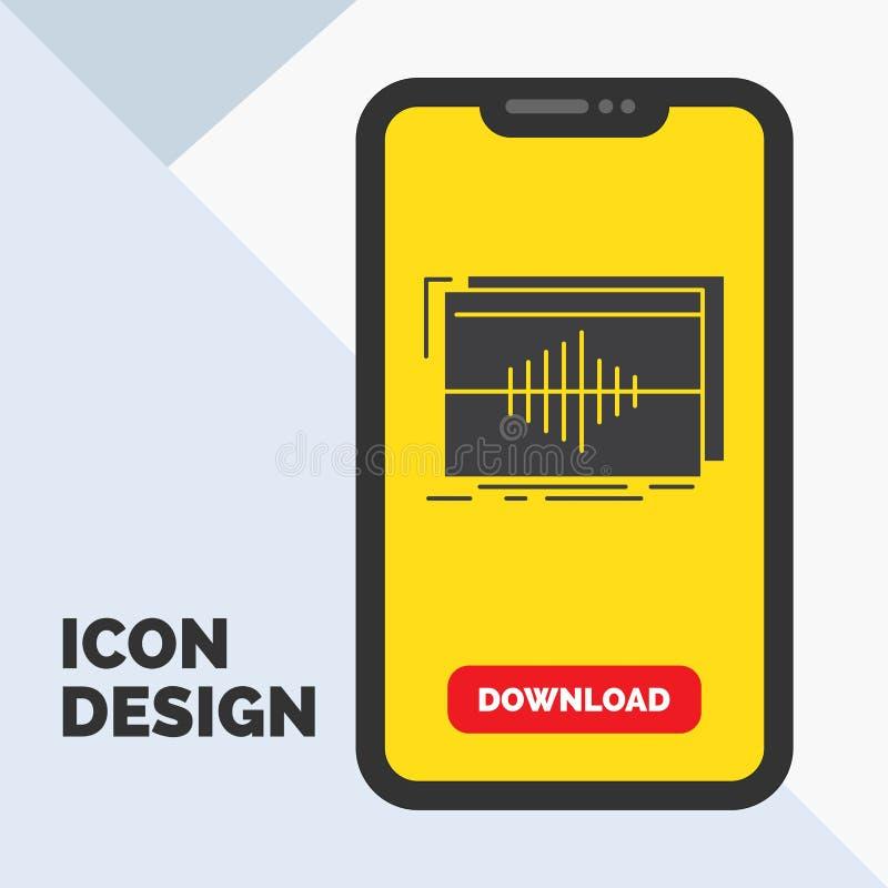 Audio, Frequenz, Hz, Reihenfolge, Welle Glyph-Ikone im Mobile für Download-Seite Gelber Hintergrund lizenzfreie abbildung