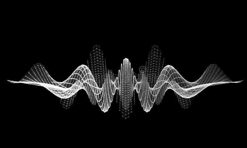 Audio griglia dell'onda dell'equalizzatore Comunicazione astratta del fondo del cavo Concetto futuristico scientifico royalty illustrazione gratis