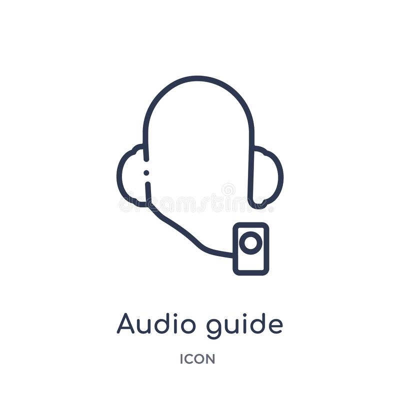 Audio guide icon from museum outline collection. Thin line audio guide icon isolated on white background stock illustration