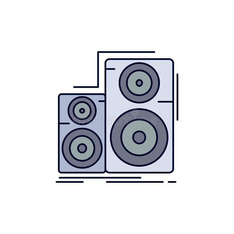 Audio, haute fidélité, moniteur, haut-parleur, vecteur plat d'icône de couleur de studio illustration libre de droits