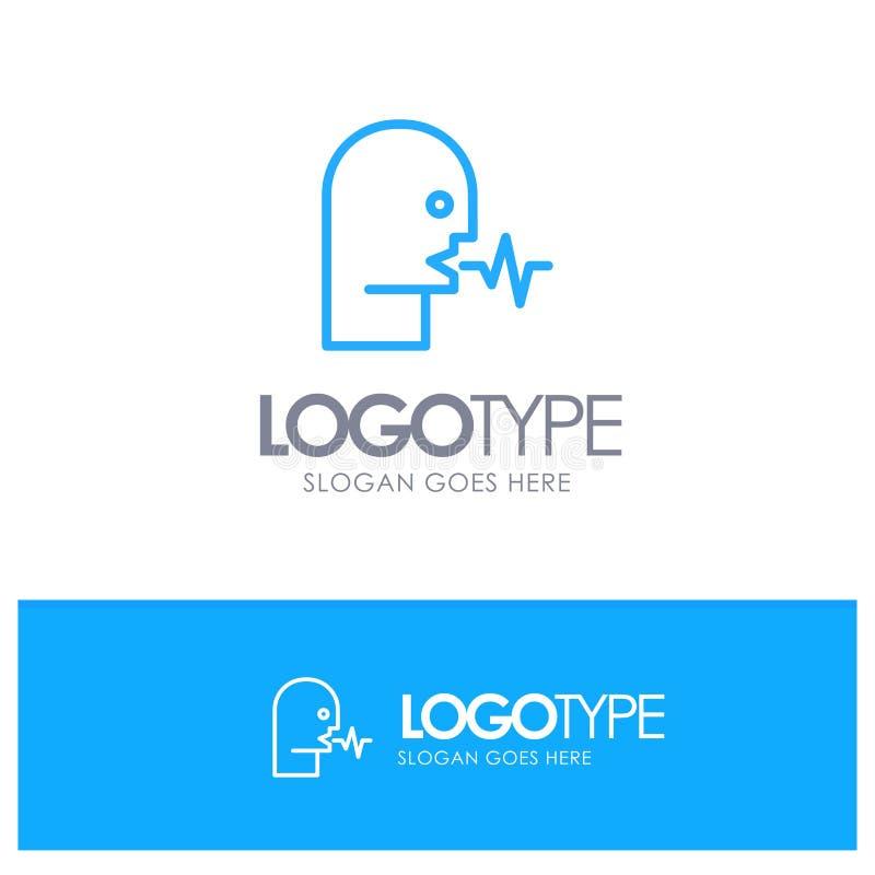 Audio, humano, persona, discurso, logotipo azul del esquema de la charla con el lugar para el tagline libre illustration