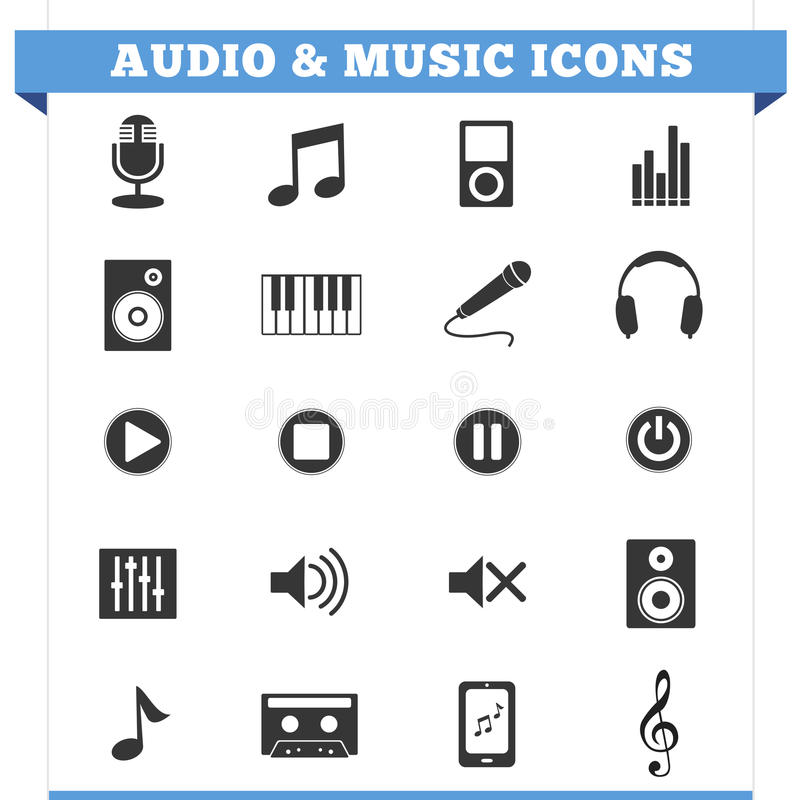 Audio I Muzyczny ikona wektoru set royalty ilustracja