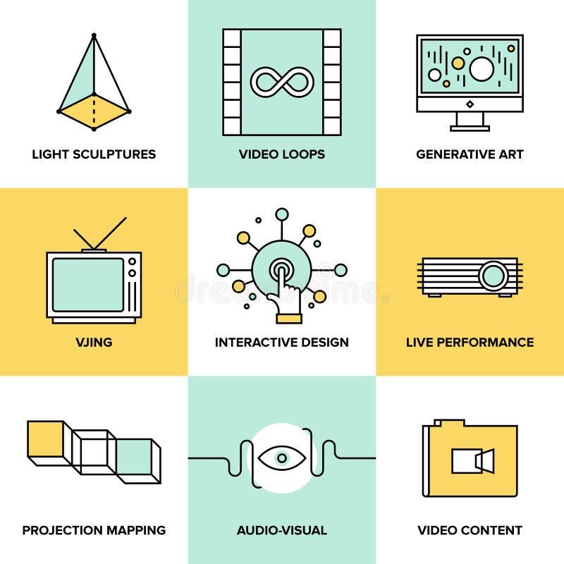 Audio i wizualnej sztuki projekta mieszkania ikony ilustracji