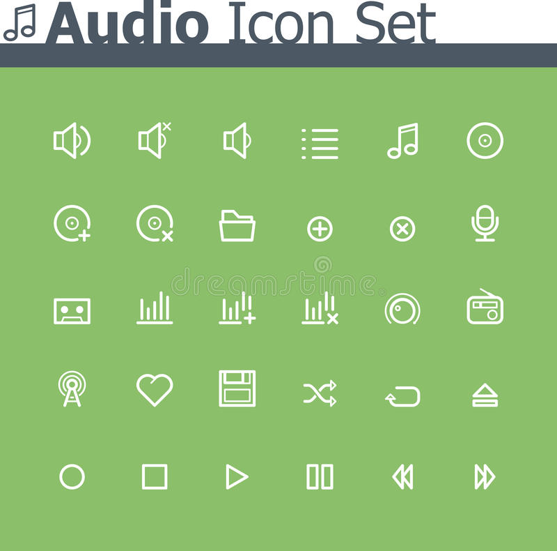 Free Audio Icon Set Royalty Free Stock Images - 35670149