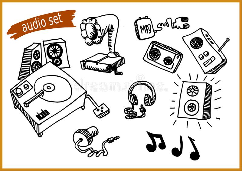 Audio icon set - from 1800s to modern day stock photo