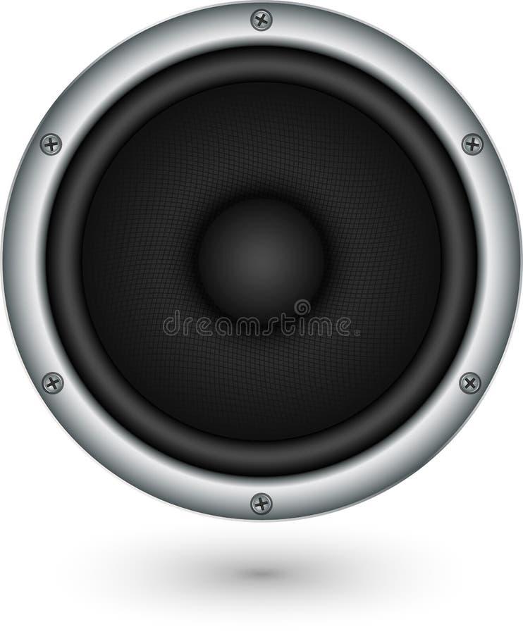 Audio icona d'argento del app dell'altoparlante, illustrazione di vettore illustrazione di stock