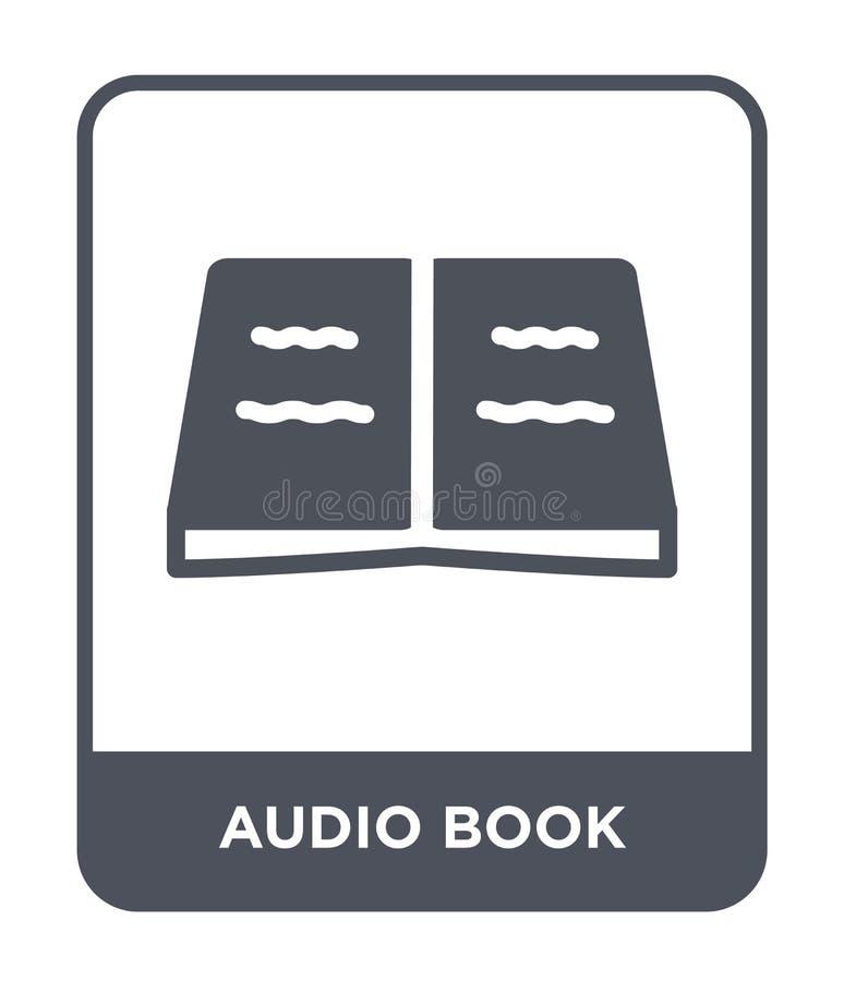 audio icona del libro nello stile d'avanguardia di progettazione Audio icona del libro isolata su fondo bianco audio icona di vet illustrazione di stock
