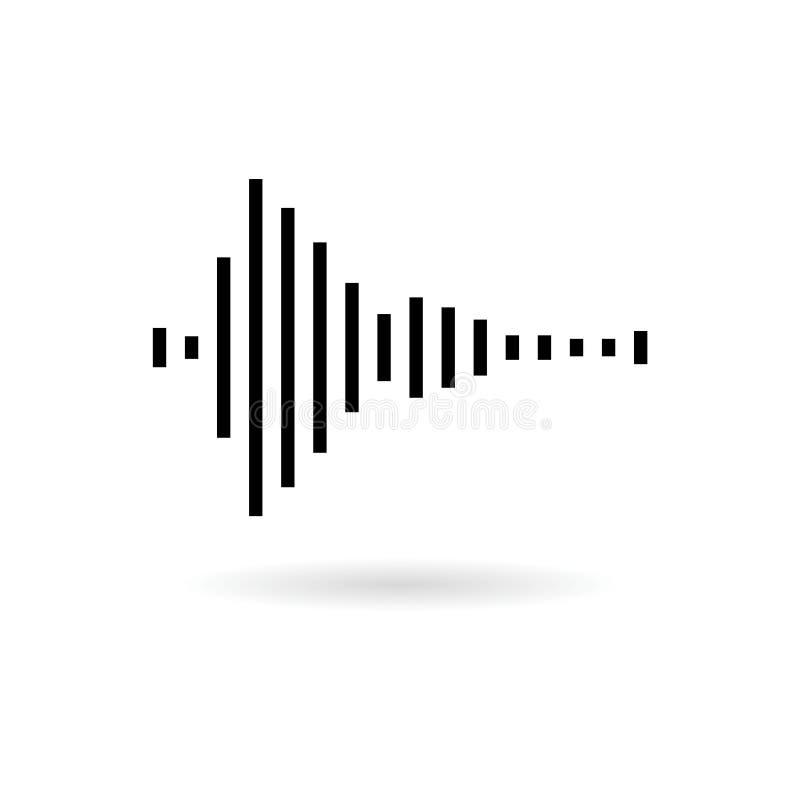 Audio icona dell'onda o logo nera, illustrazione moderna di onda sonora illustrazione vettoriale