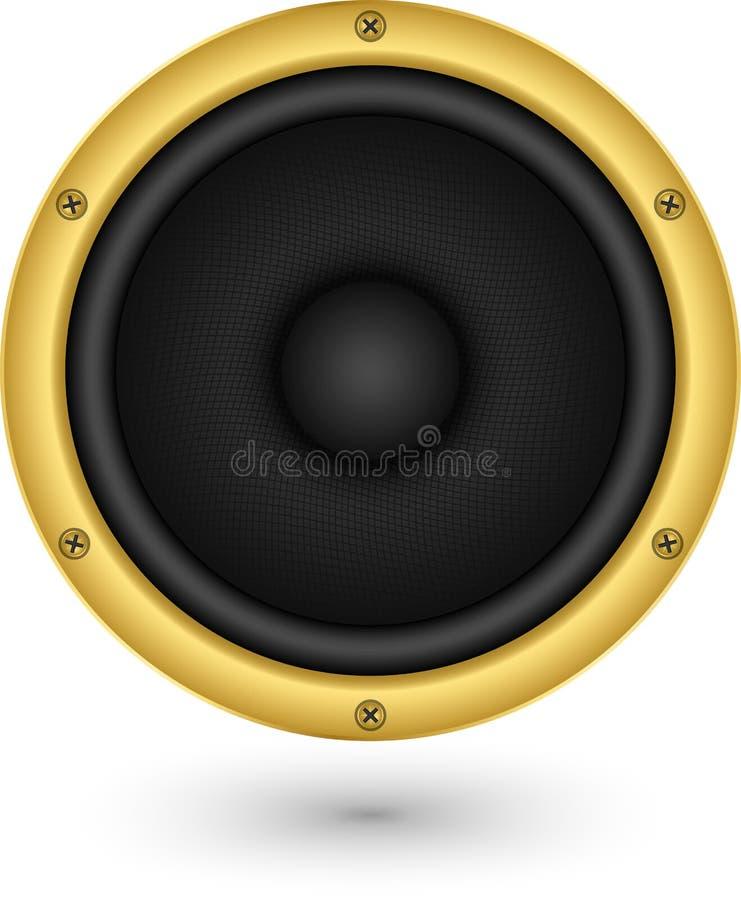 Audio icona dorata del app dell'altoparlante, illustrazione di vettore royalty illustrazione gratis
