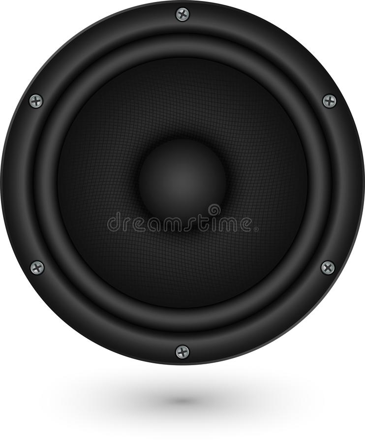 Audio icona nera del app dell'altoparlante, illustrazione di vettore illustrazione di stock