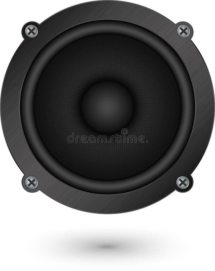 Audio icona nera del app dell'altoparlante, illustrazione di vettore illustrazione vettoriale