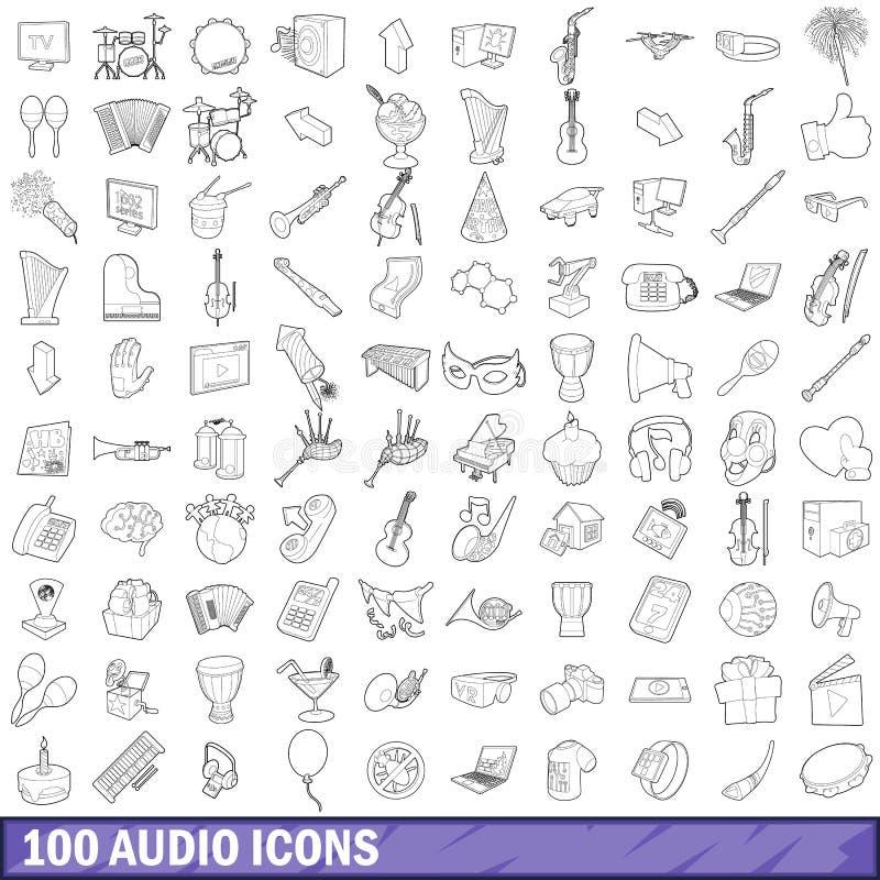 100 audio icone messe, stile del profilo illustrazione vettoriale