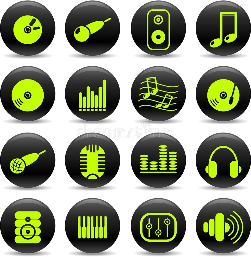 Download Audio icons stock vector. Image of symbols, earphones - 8918735