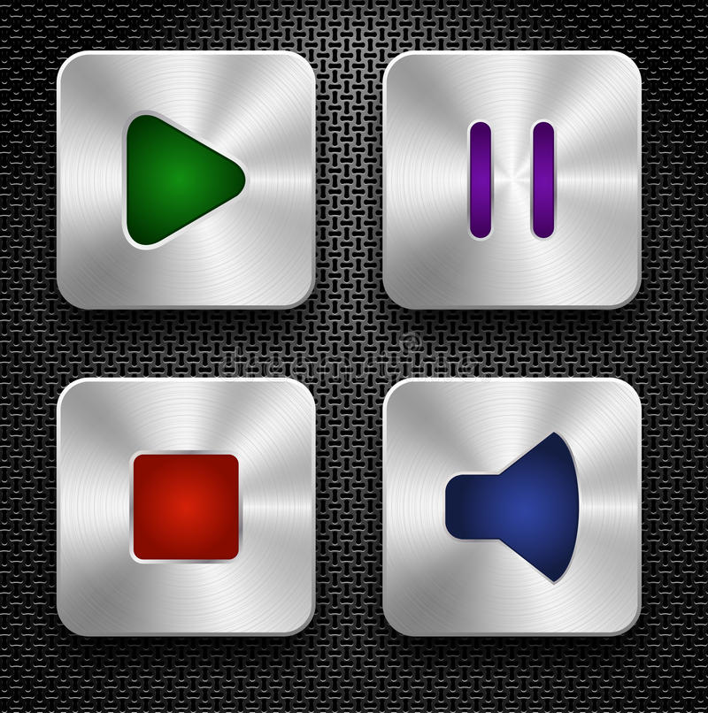 Download Audio icons set stock vector. Image of push, button, music - 25612932