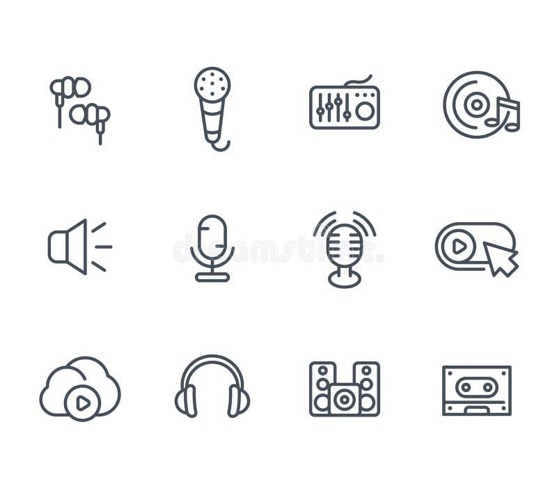 Audio ikony, rozsądny mieszać, mikrofony, nagrywa royalty ilustracja