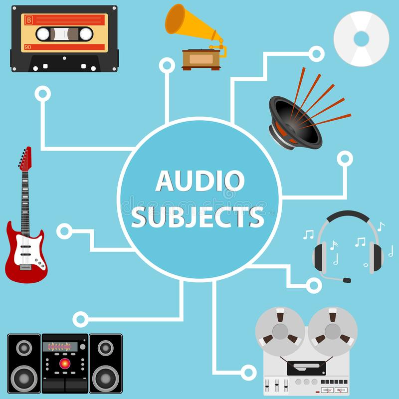 Audio items, a set of audio systems. Flat design, vector illustration, vector stock illustration