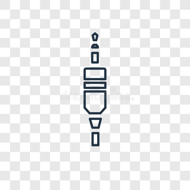 Audio jack concept vector linear icon on transparent ba royalty free illustration