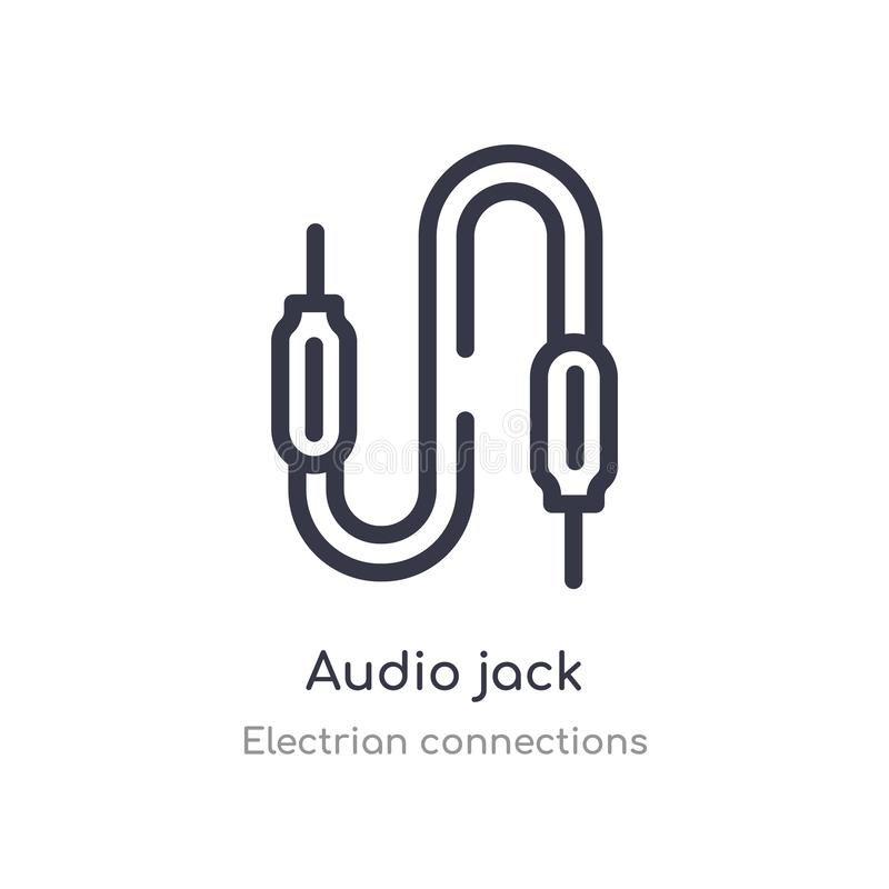 audio jack outline icon. isolated line vector illustration from electrian connections collection. editable thin stroke audio jack vector illustration