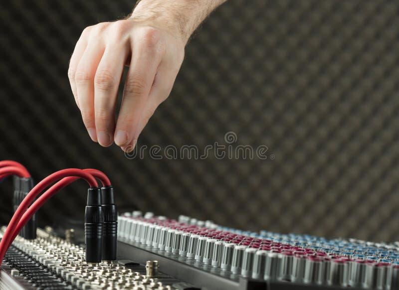 Audio jacks on a studio mixer stock images