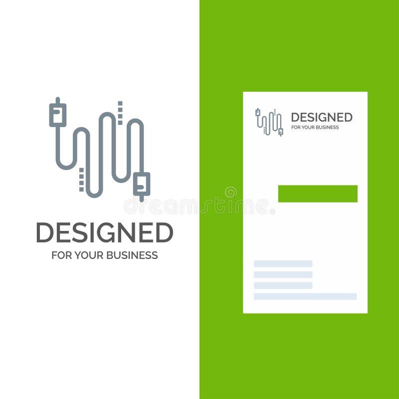 Audio, Kabel, Kabels, Mededeling Grey Logo Design en Visitekaartjemalplaatje royalty-vrije illustratie