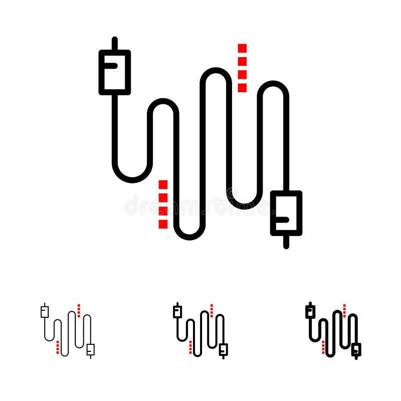 Audio, kabel, kable, Komunikacyjny czerni linii ikony set, Śmiały i cienki ilustracja wektor