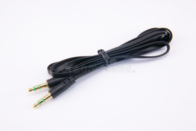Audio kabel op wit stock afbeelding
