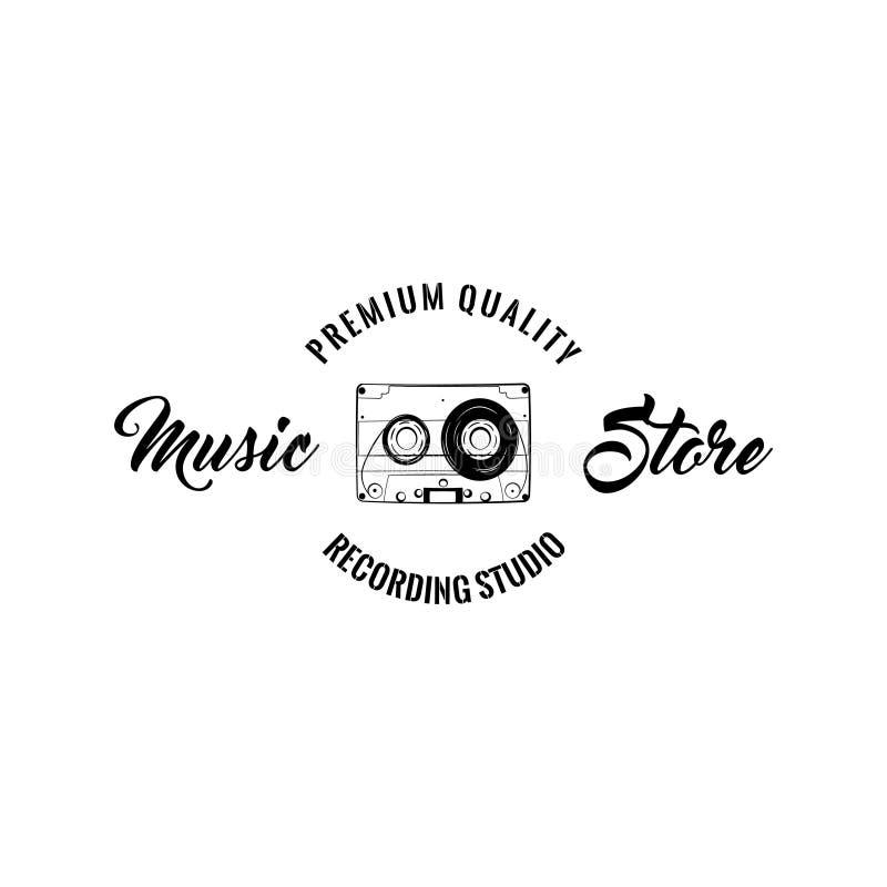 Audio kaseta Muzyczny sklepu logo Studio nagrań emblemata projekt Taśma dźwiękowa Rocznik muzyki przyrząd wektor royalty ilustracja