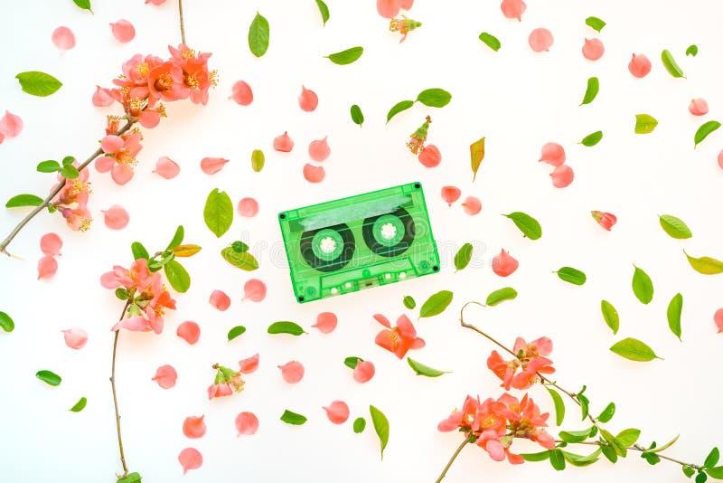 Audio kasety odgórnego widoku mieszkania nieatutowej wiosny kwiecista dekoracja obrazy royalty free